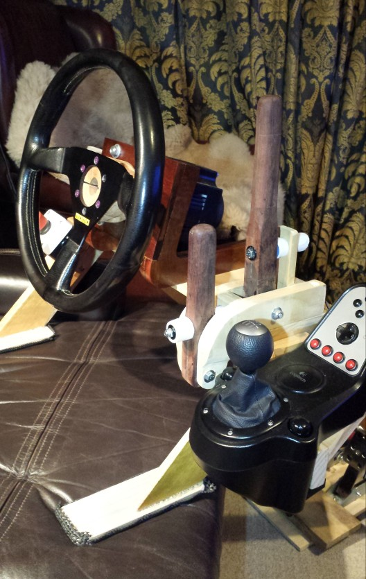 Wooden handbrake and sequential shifter withOSW Direct drive wheel